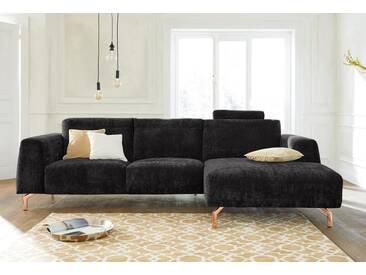 Guido Maria Kretschmer Home&Living GMK Home & Living Polsterecke »Logge«, grau, Recamiere rechts, mit Messingfüßen, anthrazit