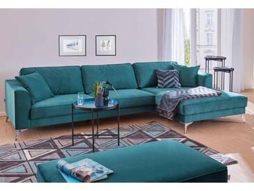 Guido Maria Kretschmer Home&Living Ecksofa »Juta«, modern, mit hochwertigen Metallfüßen, blau, 310 cm, Recamiere rechts, azur