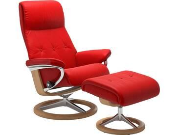 Stressless® Set: Relaxsessel mit Hocker »Sky« mit Signature Base, Größe M, Gestell naturfarben, rot, chilli red BATICK