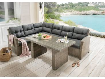 Destiny DESTINY Loungeset »RIVIERA«, 15-tlg., 3er-Sofa, Tisch 80x145 cm, Polyrattan, grau, vintage grau