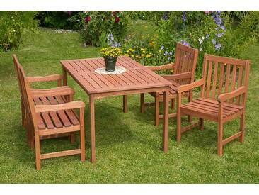 MERXX Gartenmöbelset »Santos«, 5tlg., 4 Sessel, Tisch, Eukalyptusholz, natur, natur, natur