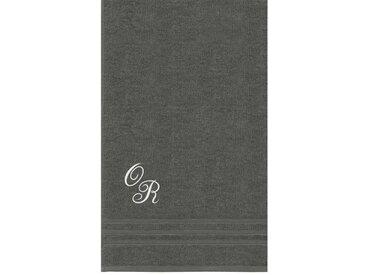 Lashuma Badetuch »London«, XXL Handtuch mit Monogramm Stick, Saunatuch 100x150 Personalisiert, grau, anthrazit