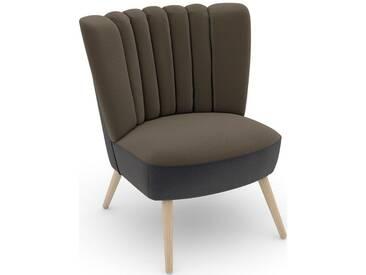 Max Winzer® build-a-chair Stuhlsessel »Aspen« im Retrolook, zum Selbstgestalten, natur, Korpus: Samtvelours anthrazit, Samtvelours sahara