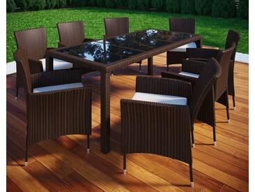 VCM Rattan Gartenmöbel - Set 190x90, 8 Stühle + 1 Tisch, Braun