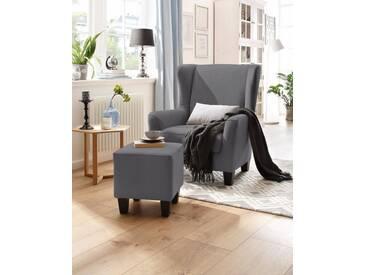 Home affaire Sessel mit Hocker im Set »Chilly« mit Federkern-Polsterung, in Karo + Unifarben, grau, grau