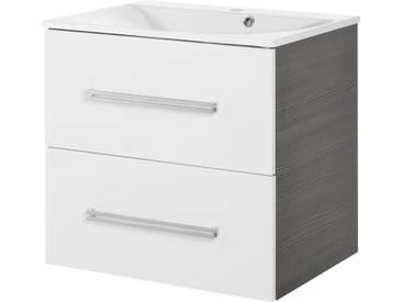 FACKELMANN Waschtischunterbau »Como«, Breite 60 cm, weiß, piniefarben anthrazit/weiß