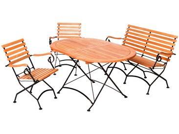 MERXX Gartenmöbelset »Schloßgarten«, 4tlg., 2 Sessel, Bank, Tisch, klappbar, Eukalyptus, natur, natur