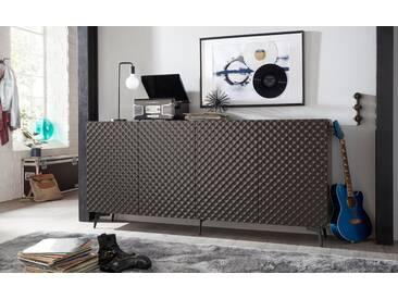 Bruno Banani bruno banani Sideboard »Design 1«, mit 3D-Fronten in Hochglanz, in zwei Breiten, grau, 4 Türen (211/42/97 cm), graphit Hochglanz
