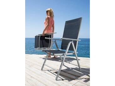 MERXX Gartenstuhl »Lima«, (2er Set), Alu/Textil, verstellbar, schwarz, schwarz, 2 Stühle, schwarz