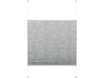 GARDINIA Plissee »EASYFIX Plissee Dekor mit 2 Bedienschienen«, Lichtschutz, ohne Bohren, Fixmaß, grau, zweiseitig verschiebbar, Lichtschutz, grau
