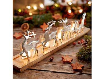 Adventsleuchter mit vier Teelichtgläser, »Rentierschlitten«, silberfarben, braun/silberfarben