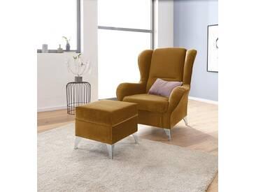 INOSIGN Sessel »Palladio« wahlweise mit Hocker, gelb, mit Hocker, curry