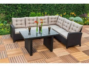 MERXX Loungeset »Salerno«, 16-tlg., 1 Eckbank, Tisch 120x70 cm, Polyrattan, braun, braun