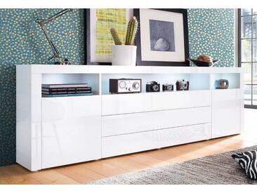 borchardt Möbel Borchardt Möbel Sideboard, Breite 200 cm, weiß, ohne Aufbauservice, weiß Hochglanz