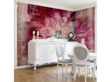 Bilderwelten Vliestapete Blumen Breit »Grunge Flower«, rosa, 190x288 cm, Pink