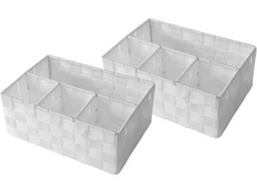 Franz Müller Flechtwaren Regalkorb (Set, 2 Stück), weiß, 25,5x17,5x10 cm, weiß