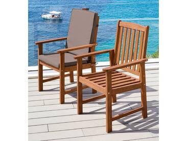 MERXX Gartenstuhl »Montana«, (2er Set), Alu/Textil, braun, inkl. Auflage, braun, 2 Stühle, braun