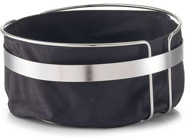 Zeller Present Brotkorb, Metall, Baumwolle, mit Stofftasche, schwarz, (H) 10,8 cm, schwarz