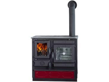 Globefire GLOBEFIRE Festbrennstoffherd »Alhena«, Stahl emailliert, 7 kW, Dauerbrand, rot, rechts, rot