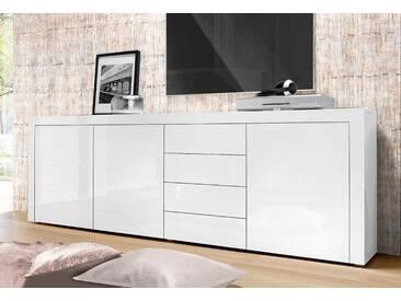 borchardt Möbel Borchardt Möbel Sideboard, Breite 201 cm, weiß, ohne Aufbauservice, Weiß Hochglanz