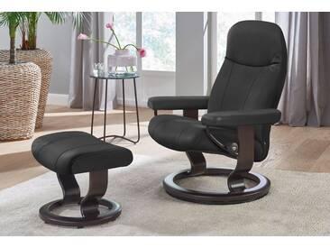 Stressless® Set: Relaxsessel mit Hocker »Garda« mit Classic Base, Größe S, mit Schlaffunktion, schwarz, Fuß wengefarben, dark black