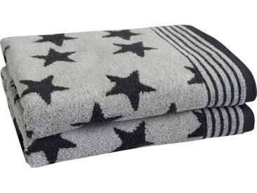 Dyckhoff Handtücher »Stars«, mit Sternen und Bordüre, grau, Walkfrottee, anthrazit