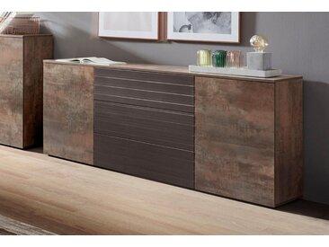 borchardt Möbel Sideboard »Savannah«, Breite 166 cm, braun, stahlfarben-braun/schoko-Riffel-MDF-Hochglanz