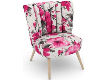 Max Winzer® build-a-chair Stuhlsessel »Aspen« im Retrolook, zum Selbstgestalten, rosa, Korpus: Microvelours Blüte pink, Microvelours Blüte pink