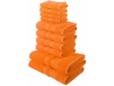 my home Handtuch Set »Ada« (Set, 10-tlg), mit abgesetzter Bordüre, orange, orange