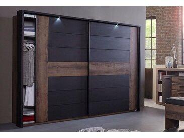 FORTE Schwebetürenschrank »Bellevue«, schwarz, Breite 270 cm, 2-türig, schlammeichefarben/schwarzeichefarben
