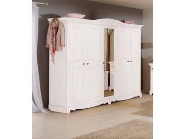 Home affaire Kleiderschrank »Romantika« aus massiver Kiefer, weiß, 5-türig, Breite 237 cm, weiß