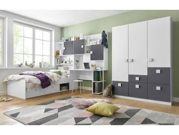 rauch PACK´S Jugendzimmer-Set »Kate«, 5-teilig, grau, mit 3 trg. Schrank, ohne Aufbauservice, ohne Aufbauservice, weiß/anthrazit
