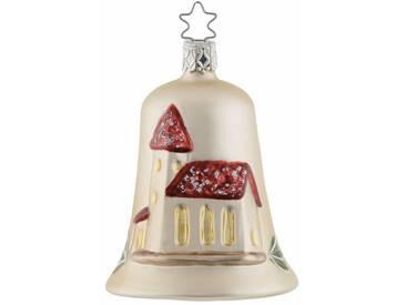 INGE-GLAS® Christbaumschmuck »Kirchenglocke«, mundgeblasen, natur, elfenbeinfarben-tannengrün-rot