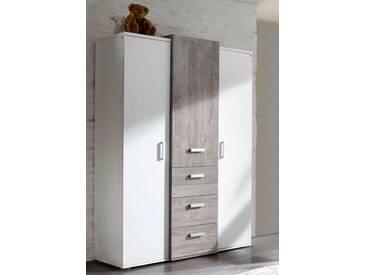 Kleiderschrank passend zur Möbelserie »Helsinki«, in vintage grau/ Pinie NB weiß, weiß, vintage grau/ Pinie NB weiß