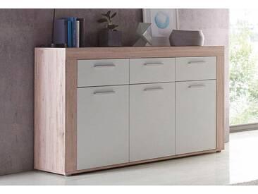 FORTE Sideboard, Breite 136 cm mit 3 Schubkästen, weiß, ohne Aufbauservice, sandeichefarben/weiß