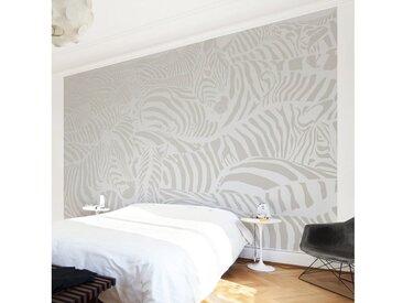 Bilderwelten Vliestapete Breit »Zebrastreifen Hellgrau«, grau, 190x288 cm, Grau