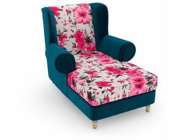 Max Winzer® build-a-chair XXL Ohrensessel »Madeleine«, zum Selbstgestalten, rosa, Korpus: Samtvelours petrol, Microvelours Blüte pink