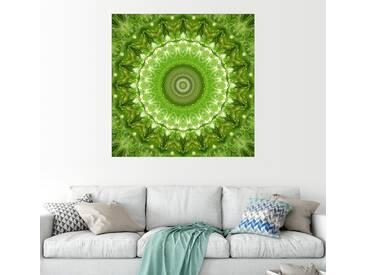 Posterlounge Wandbild - Christine Bässler »Mandala grüne Wiese«, grün, Leinwandbild, 120 x 120 cm, grün