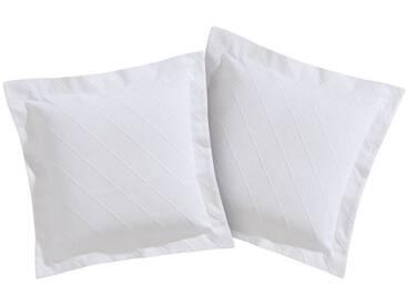 Texteis Penedo Kissenbezüge »Juri«, mit Karodesign in Jacquard-Struktur, weiß, Baumwolle, weiß