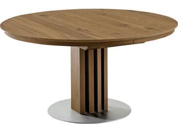 VENJAKOB Säulen-Esstisch mit Auszugsfunktion »picasa«, runde Tischplatte, in 2 Größen, natur, Breite 120 cm, Anziano Eiche furniert