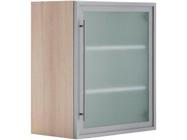 OPTIFIT Glashängeschrank, Breite 60 cm, grau, alu/akaziefarben