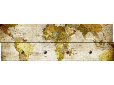 Artland Wandgarderobe »RA Studio: Weltkarte«, braun, 30 x 90 x 2,8 cm, Braun