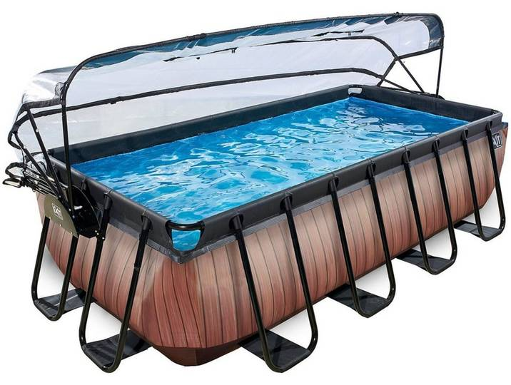 EXIT Frame Pool 4x2x1m mit Sonnendach, Holz Opt...