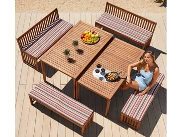MERXX Gartenmöbelset »Hawaii«, 10-tlg., 4 Bänke, 2 Tische, Akazienholz, braun, braun, braun