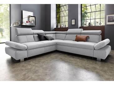 exxpo - sofa fashion Ecksofa, silberfarben, 274 cm, langer Schenkel rechts, silber