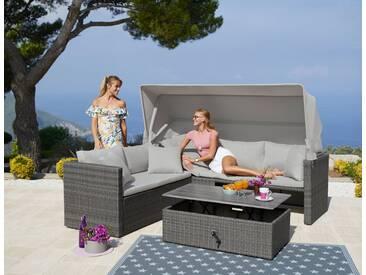 MERXX Loungeset »San Marco«, 15-tlg., Ecklounge, Tisch 110x60x35-57 cm, Polyrattan/Akazie, grau, grau