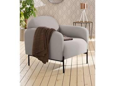 andas Sessel »Bold«, edles, skandinavisches Design, mit Stahlbeinen, natur, beige