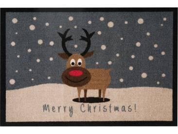 HANSE Home Fußmatte »ChristmasReindeer«, rechteckig, Höhe 7 mm, grau, 7 mm, grau