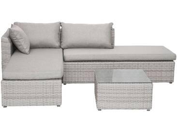 bella sole BELLASOLE Loungeset , 8-tlg., Ecklounge, Tisch 60x60 cm, Polyrattan, cremeweiß, weiß, cremeweiß