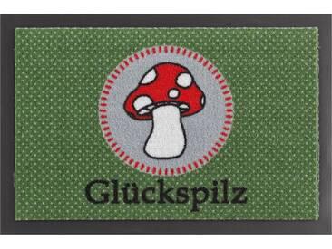HANSE Home Fußmatte »Glückspilz«, rechteckig, Höhe 7 mm, rutschhemmend beschichtet, grün, 7 mm, grün-rot